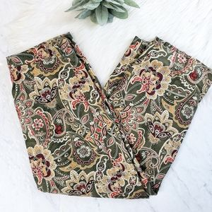 Vintage Silk Paisley Cropped High Waist Mom Pants